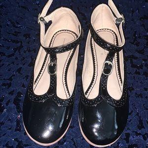 Zara Girls Black Oxford Patent Flats